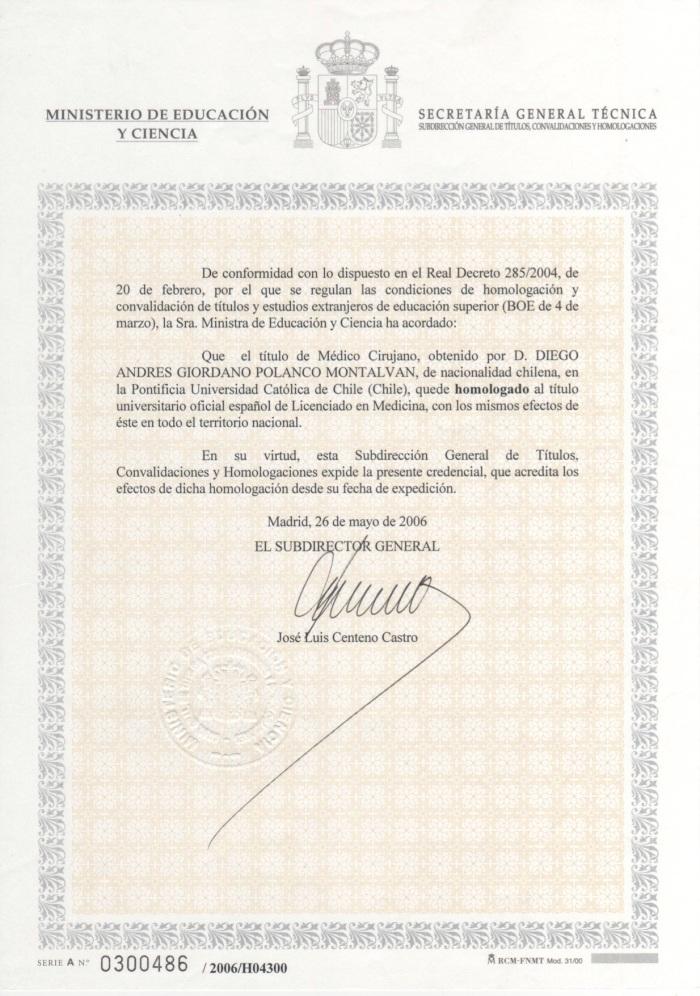 TITULO MEDICO ESPAÑOL